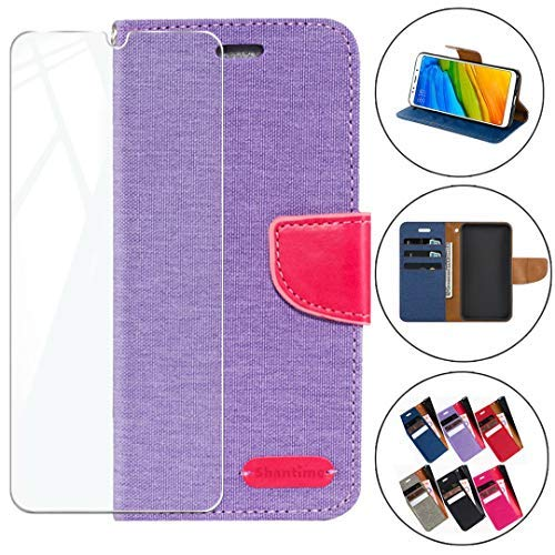 HYMY Denim Hülle für Xiaomi Black Shark 3 Pro + Schutzfolie Panzerglas Folie - Lederhülle Flip Schutzhülle Card Slot mit Brieftasche Handyhülle Bookstyle Flip Cover Hülle - Purple