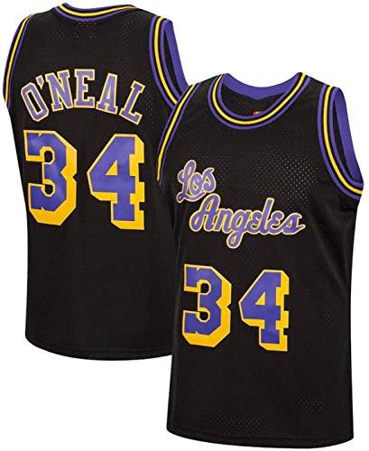 ZMIN Jersey de Baloncesto NBA Lakers # 34 O'Neal Hombre Bordado Bordado Vestido sin Mangas,Negro,L 175~180cm