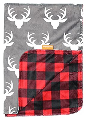 Dear Baby Gear Deluxe Baby Blankets, Custom Minky Print Double Layer, Deer Antlers, Red and Black Buffalo Plaid, 38 Inches by 29 Inches