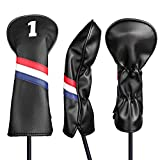 Champkey Golf Wood Head Cover Pack of 3 (No.1,3,X), More Thick,More Protection,More Durable Club Covers Ideal for Titleist, Callaway, Ping, Taylormade,Cobra Etc (Black)