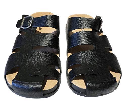 Zuecos Zapatillas de Cuero para Hombre,Sandalias para Caballeros, Chancletas de Playa, Calzado para Verano (Negro, Numeric_40)