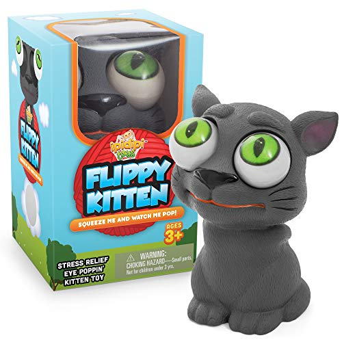 IPIDIPI TOYS Flippy Kitten Eye Popping Cat - Squishy Squeeze Toy for Stress Reduction - Gag Stocking Stuffers for Boys and Girls - Great for Kids with Autism and ADHD