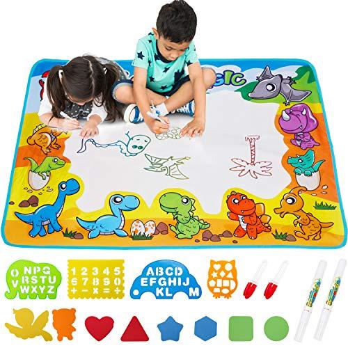 FREE TO FLY Wasser Zeichnen Matte,Wasser Doodle Matte Zaubertafeln Reißbrett mit Wasserstift,Malmatte Spielzeug Kindergeschenk für 3 4 5 6 Jahre alt