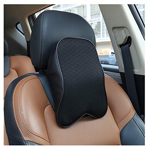 Car Seat Neck Pillow for Driving,Car Headrest Pillow for Neck Pain Relief & Cervical Support with Adjustable Straps,100% Pure Memory Foam and Ergonomic Design (Black, Large)