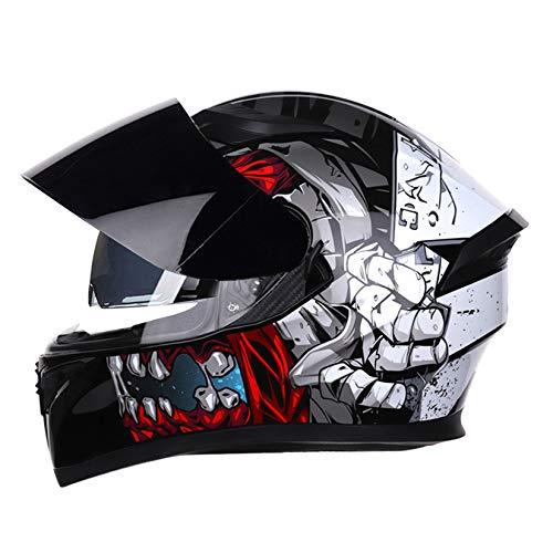 LIYANZWJ Full Face Motorcycle Helmets DOTCertified, Street Helmet Motocross Bike Helmets with Sun Visor, Unisex-adult, ABS