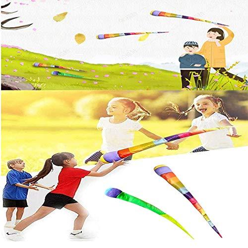 Rainbow Balls Ribbon Resistencia al viento Suave, Pelotas deportivas de arco iris de meteorito de lanzamiento de mano, Juguete deportivo de bola suave de resistencia al viento de cinta de 80 cm 1pc