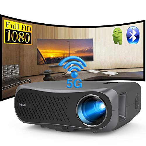 WiFi Bluetooth Movie Projector,Full HD Wireless Projector with Android,LCD LED Native 1080P Home Theater Indoor Outdoor 4D Keystone/Zoom Screen Mirroring for Smartphone Laptop DVD Player TV Stick PS5
