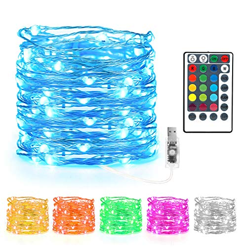 Kaulsoue 132 Lighting Modes 16 Coloured Led Multicoloured Fairy Lights Colour Changing, 33ft 100 Led Twinkle String Lights Plug in USB Powered, Remote with Timer, for Bedroom Indoor Christmas.