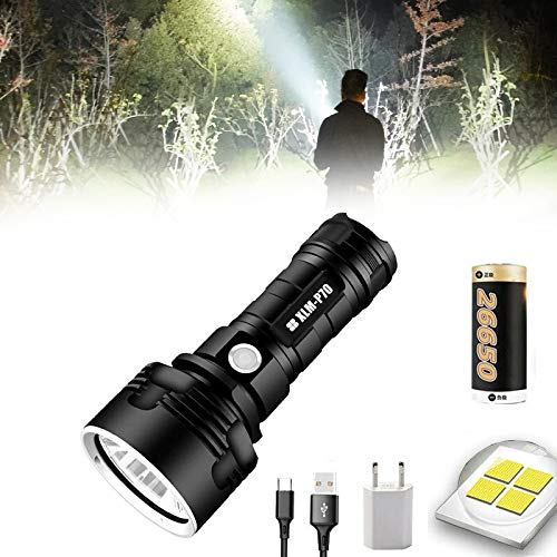 30000-100000 Lumen High Power Led Waterproof Flash Light Lamp Ultra Bright, 3 Modes Flashlight for Outdoor Hiking Hunting Camping Sport (P70-5000mAh battery)