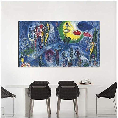 Marc Chagall Grand Cirque Leinwand Gemälde Druck Wohnzimmer Wohnzimmer Dekoration Kunstwerk Moderne Wandkunst Ölgemälde Poster Bild -60x100cm Kein Rahmen