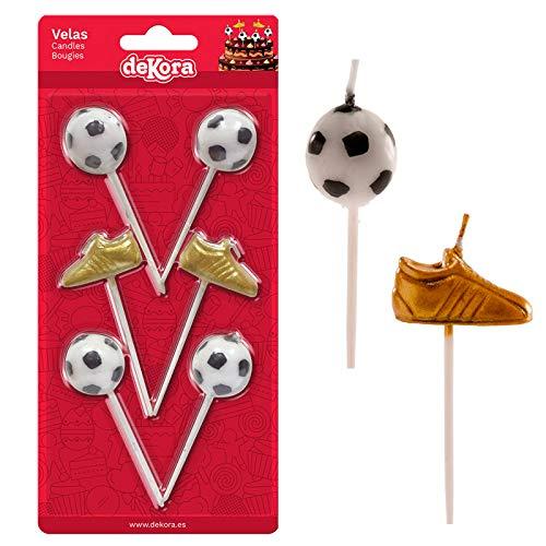 Dream' s Party Set Candela Calcio con 4 Candele a Forma di palloni e 2 di Scarpette Oro - Candelina per Torta e Dolci - Candela di Compleanno in Cera