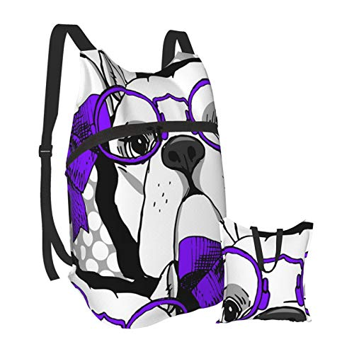 dog in a blue bow and glasses Lightweight Backpack Foldable Hiking Daypack Waterproof Bag For Men Women
