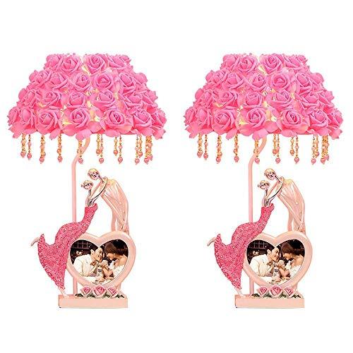 FTFTO Accesorios para el hogar Lámparas de Mesa Juego de 2 lámparas de Escritorio con Pantalla de Rosas para Sala de Estar, Dormitorio Familiar, mesita de Noche, mesita de Noche (Color: Rosa)