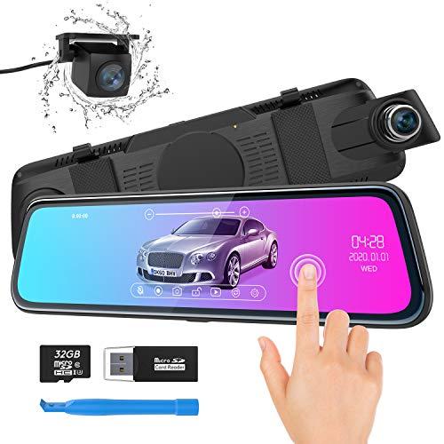 """ThiEYE Carview2 Dash Cam Specchietto 10"""" Touchscreen Telecamera per Auto [1080P 170° e 720P 170°] G-Sensor, Registrazione in Loop, Monitor di Parcheggio con Scheda SD 32 GB"""
