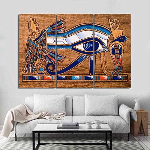 Meteor Gallery Toile de dessin égyptienne Papyrus - Œil d'Horus - 3 panneaux - 120 x 80 cm