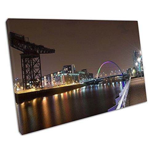 Print on Canvas city of Glasgow squinty bridge river Clyde Scotland Size=91 x 61 x Depth 2cm