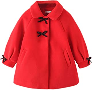 Xifamniy Infant Children Girls Autumn&Winter Woolen Coat Doll Collar Quilted Cotton Jacket