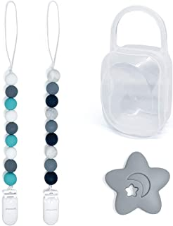 Pacifier Teether Clips Silicone for Boy 2 Pack with Pacifier Case and Teether