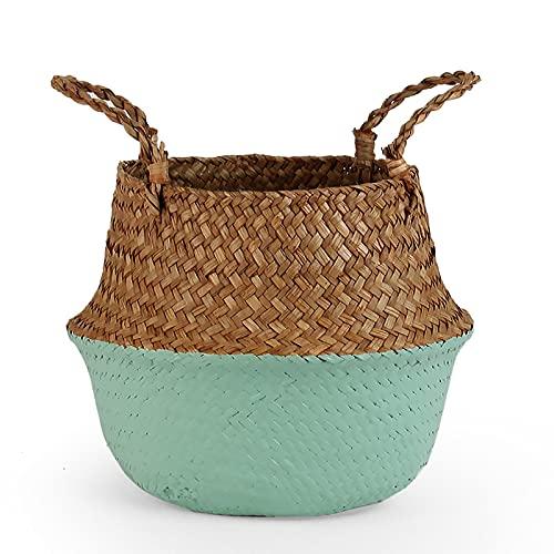 xuyang Gardening supplies Storage Basket Rattan Straw Basket Wicker Seagrasss Folding Flower Pots Flower groot Storage Basket Pot Planter Organization (Color : Pale Olive, Sheet Size : 20CMX22CM)
