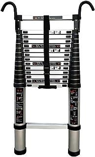 SYEA Escalera escamoteable Las escaleras telescópico Desmontable con Gancho, peldaño Inferior y estabilizador, Aluminio Extensión telescópica Escalera, 440 LB Gran Capacidad de Carga, fácil de Llevar