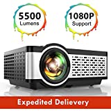 TOPTRO Portable Projector,5500 Lumens Video Projector Support 1080P,200' Display,HiFi Speaker,[Native 720P] 55000 Hrs Outdoor/Home Projector Compatible with TV Stick/Phone/Laptop/PS4/SD/USB/VGA/HDMI