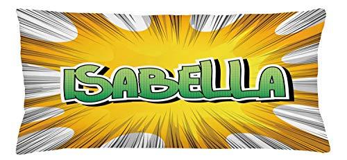 ABAKUHAUS Isabella Sierkussensloop, American Naam van de Geboorte, Decoratieve Vierkante Hoes voor Accent Kussen, 90 cm x 40 cm, Geel Groen en wit