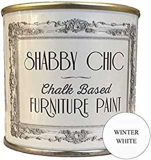 Shabby Chic Chalk Based Furniture Paint - Winter White 250ml - Chalked, Use on Wood, Stone, Brick, Metal, Plaster or Plastic, No Primer Needed, Made in The UK.