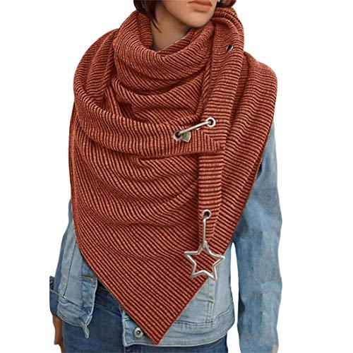 OZZlOR Damen Schal Dreieck Schal Shawl Groß Elegant wickelschal damen mit knopf Lässig Herbst Winter Schal Halstücher Poncho Weicher Schal(B#Orange Brown)