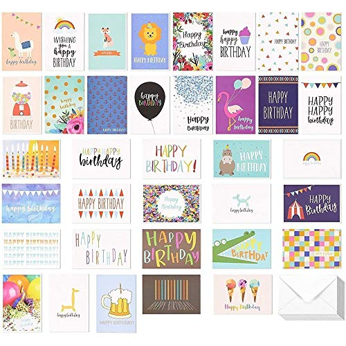Best Paper Greetings Happy Birthday Greeting Cards (36-Pack) - Happy...