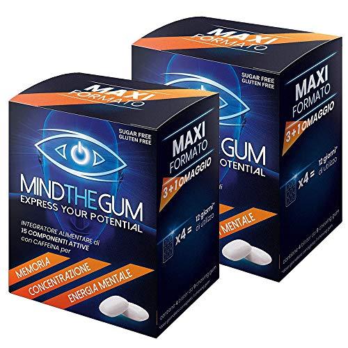 2X MINDTHEGUM Maxi Formato 36 gomme -> Pacchetto da 72 gomme totali   Integratore per Concentrazione, Memoria e Stanchezza Mentale con Caffeina, Teanina, Vitamine, Minerali