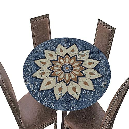 Fansu Impermeable Redondo Mantel con Borde Elástico, 3D Mandala Impresión Mantel de Mesa Elástica Ajustada Cubierta de Mesa para Picnic Comedor Cocina Restaurante Cena (Gris Azul,Diámetro 120cm)