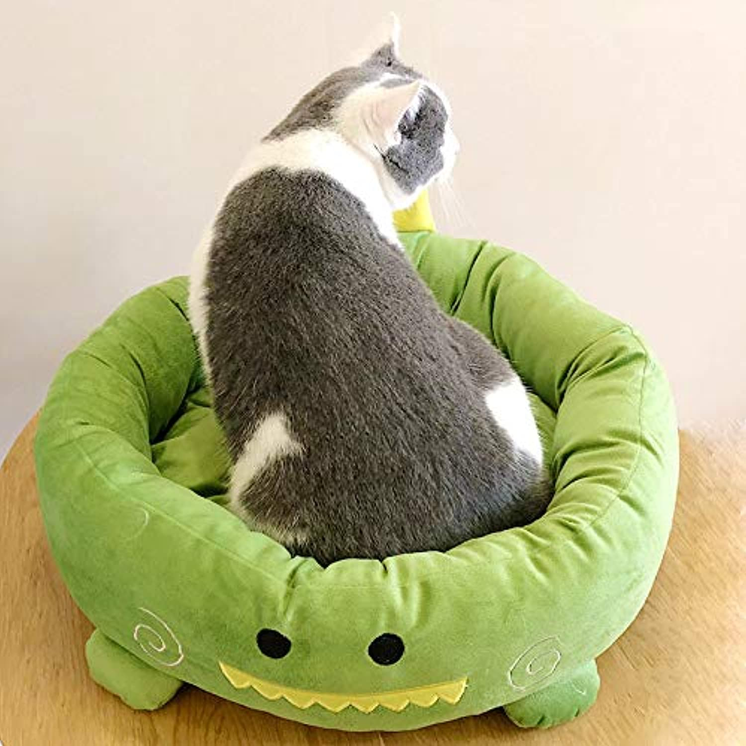 MARIS Autumn winter cartoon style cute popular puppy kennel Teddy warm removable washable round dog nest cat bed nest,Green,L 56  15 cm