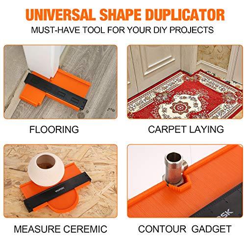 VARSK Contour Gauge Duplicator- Contour Gauge with Lock 10 inch - Shape Duplicator Profile Gauge Tool - Must Have Gift for DIY Woodworking Carpentry Flooring Handyman