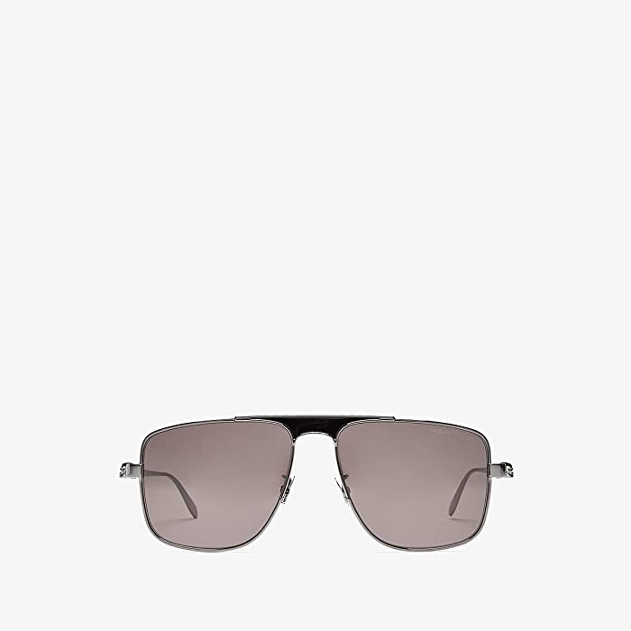 Alexander McQueen  AM0200S (Semi Matte Black/Grey Solid) Fashion Sunglasses