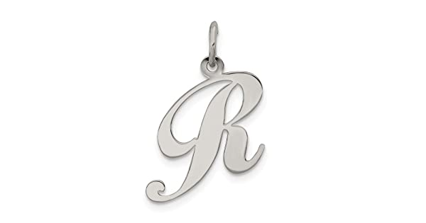 Beautiful Sterling silver 925 sterling Sterling Silver Rhodium-plated Medium Fancy Script Initial R Charm