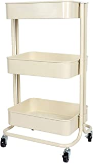 Lemonda Lemonda Heavy Duty Multifunctional 3-Tier Rolling Utility Cart Storage Shelves Trolley with Mesh Basket and Wheels for Bathroom,Kitchen,Office Organizer