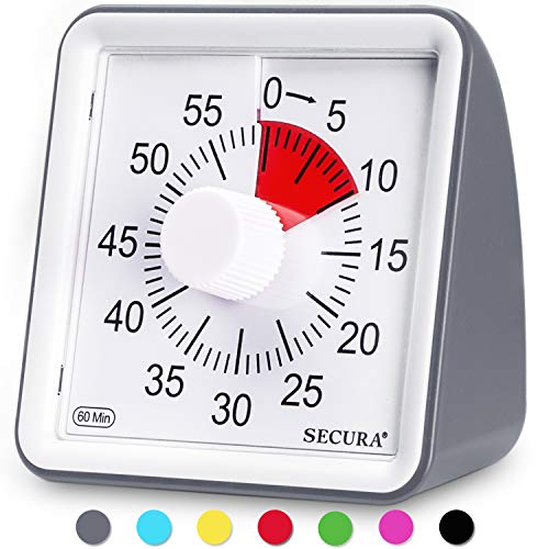 Secura 60-Minute Visual Timer, Classroom Countdown Clock,...