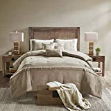 Madison Park Boone Comforter Set-Rustic Cabin Lodge Faux Suede Design All Season Down Alternative Cozy Bedding with Matching Bedskirt, Shams, Decorative Pillow, Cal King(104'x92'), Tan 7 Piece