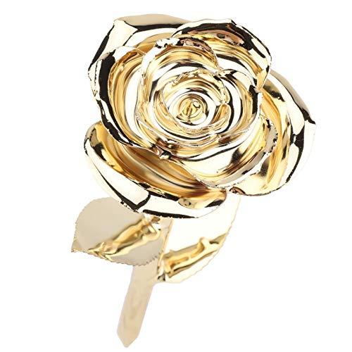 Tomantery La Bella y la Bestia Rose Real Rose Chapado en Oro de 24 Quilates, Ramo de Flores de Rosas preservado para Siempre para el Día de San Valentín, Boda