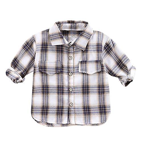 Anglewolf Jungen Mädchen Langarm Hemden Plaid Kariert Freizeithemd Tops Baumwollmischung Shirt Kariertes Button Up Hemd 0-3 Jahre(Weiß,80)