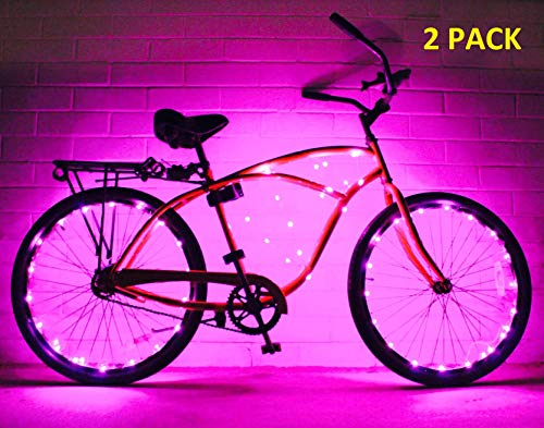 GlowRiders (2 Pack) Ultra Bright LED - Bike Wheel Light String - Assorted Colors Bicycle Tire Accessories- Burning Man Accessory (Pink)