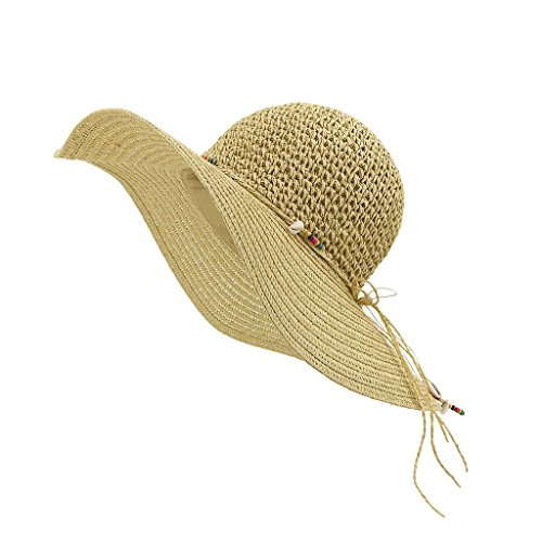 LETHMIK Womens Summer Straw Hat Manual Shell String Ladies Beach Sun Hat Floppy Wide Brim Hat Beige