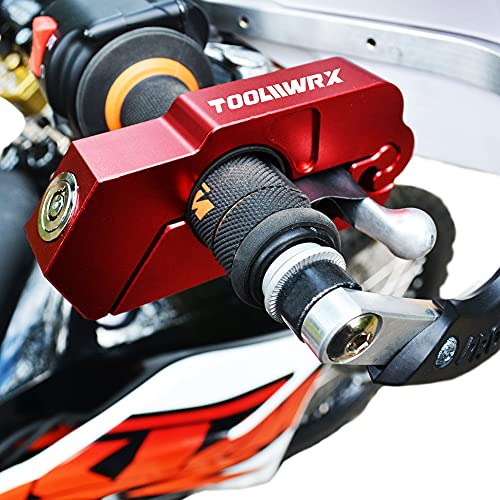 ToolWRX Motorcycle Lock - Best Quality Heavy Duty Anti Theft for Motorcycles Mopeds Scooters ATVs Street Bike Dirt Bike Alarm Motorbike use on Grip Brake Handlebar Simple & Quick with Lever Protector