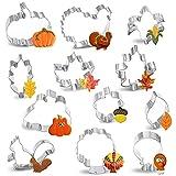 12PCS Large Fall Thanksgiving Cookie Cutter Set - Turkey,Pumpkin,Maple/Oak/Teardrop Leaf,Squirrel, Acorn,Corn,and Turkey Leg