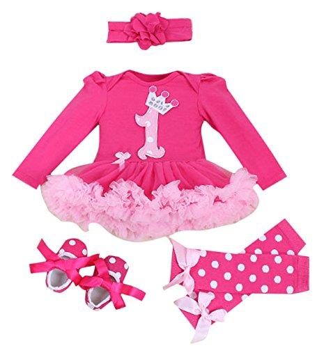 Ensemble Vêtements de Naissance Bébé Fille Cadeau Idéal - Barboteuse + Bandeaux des cheveux + Jambières + Chaussures - Adapté 6-12 Mois - Couleur A