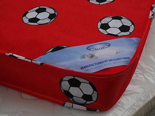 MR SLEEPS BEDS SINGLE MATTRESS 3FT (90CM) WIDTH - 6FT3 (190CM) LENGTH RED FOOTBALL