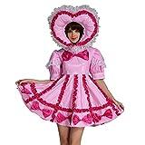 GOceBaby Erwachsene Baby Sissi Abschließbar Dienstmädchen PVC Rosa Kleid Uniform Kostüm (L)