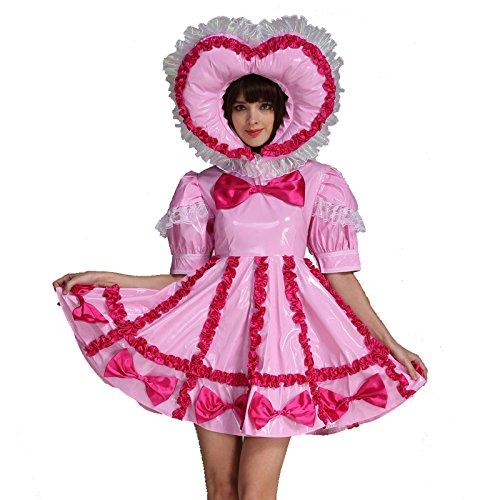 GOceBaby Adult Baby Sissy Lockable Maid PVC Pink Dress Uniform Costume Crossdress (3X-Large)