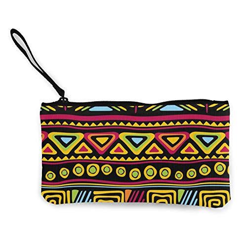 Moneda de lona, patrón azteca, bolsa de cosméticos con cremallera, bolsa de maquillaje multifunción para teléfono móvil, bolsa de lápiz con asa