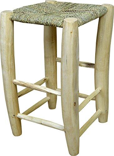 Taburete mediano artesanal echo de cuerda y mimbre natural madera de laurel - Ancho 40 Longitud 40 Altura 70 cm